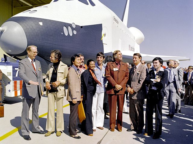Space the Final Frontier: Real space shuttle Enterprise with TV crew of fictional Starship Enterprise