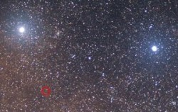 The Star Nearest Earth: night sky view of Alpha, Beta and Proxima Centauri